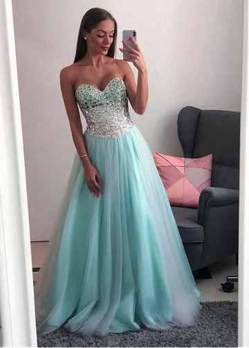 Modern Tulle Sweetheart Neckline Floor-length A-line Prom Dresses With Beadings
