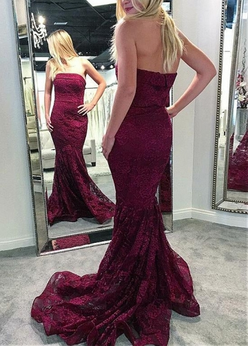 Alluring Lace Strapless Neckline Floor-length Mermaid Evening Dresses