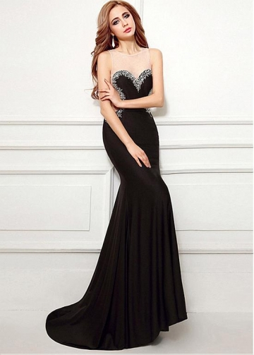Sexy Black Jewel Neckline Floor-length Mermaid Evening Dresses With Beadings