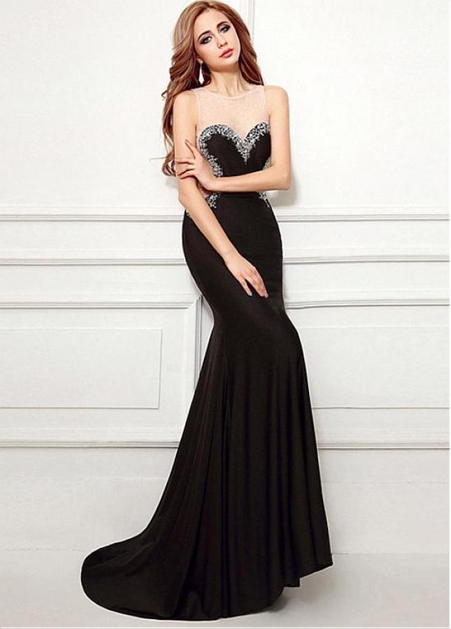 Sexy Black Jewel Neckline Floor-length Mermaid Evening Dresses With Beadings