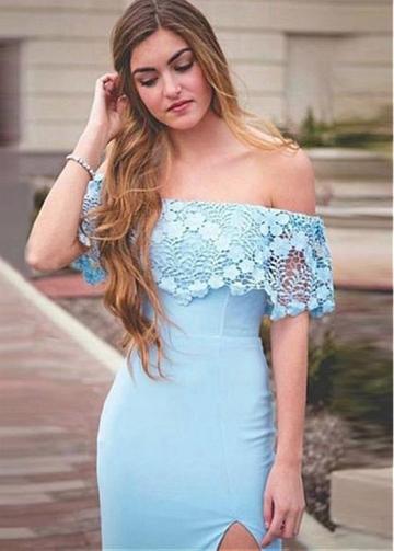Modern Jersey Off-the-shoulder Neckline Floor-length Mermaid Evening Dresses With Slit
