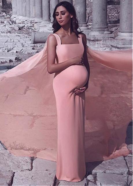 Fabulous Pink Square Neckline Floor-length Sheath/Column Evening Dresses
