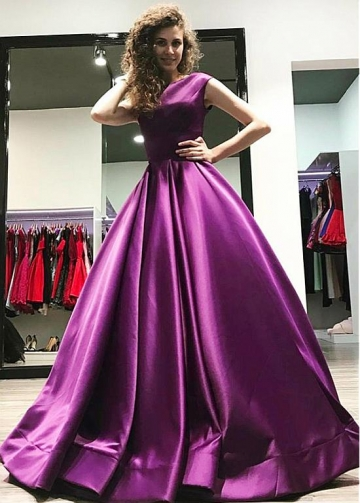Alluring Satin Bateau Neckline Floor-length A-line Evening Dress