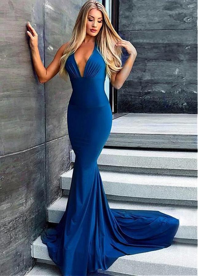 Fantastic Halter Neckline Floor-length Mermaid Evening Dress