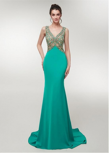 Brilliant Satin V-neck Neckline Floor-length Mermaid Evening Dress With Beadings