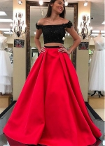 Fabulous Satin Off-the-shoulder Neckline Two-piece A-line Prom Dress