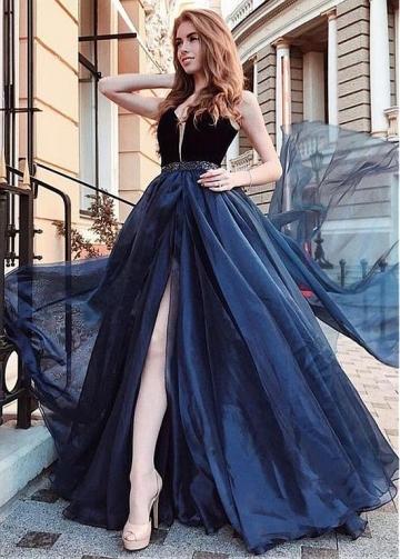 Exquisite V-neck Neckline Floor-length A-line Evening Dress With Beadings & Belt