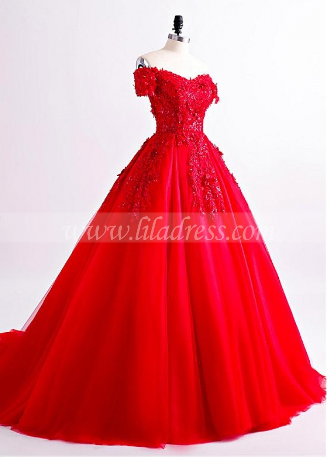 Eye-catching Tulle Off-the-shoulder Neckline Floor-length A-line Evening Dress With Beadings & Lace Appliques