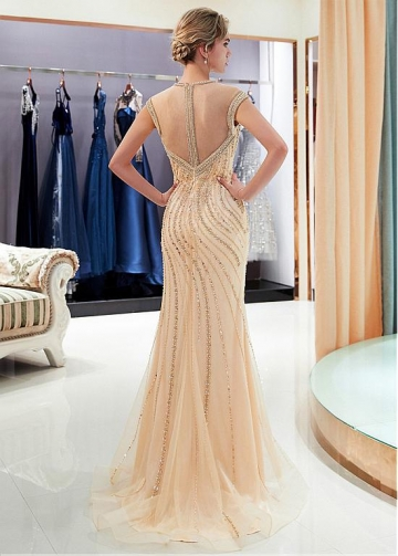 Elegant Tulle Jewel Neckline Full-length Mermaid Evening Dress With Beadings