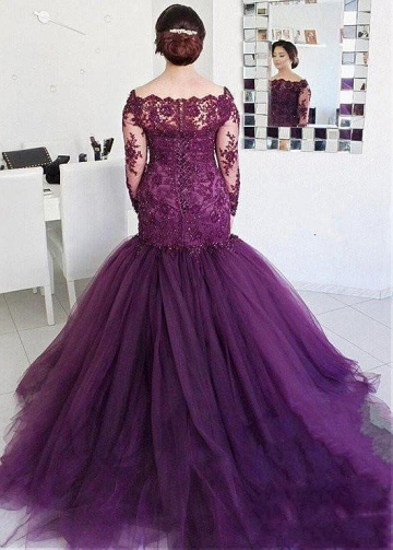 Elegant Tulle Purple Off-the-shoulder Neckline Floor-length Plus Size Mermaid Evening Dress
