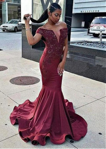 Gorgeous Satin Off-the-shoulder Neckline Floor-length Mermaid Evening Dress With Beaded Lace Appliques