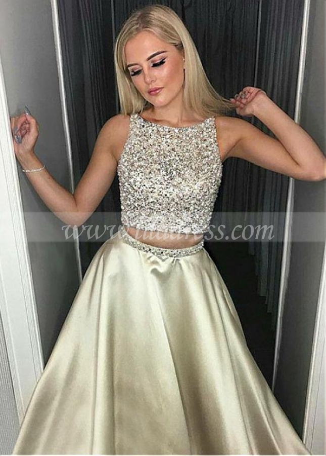 Chic Satin Jewel Neckline Two-piece A-line Prom Dress With Beadings