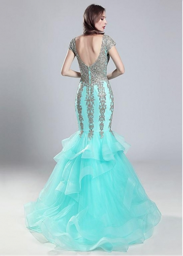 Attractive Tulle V-neck Neckline Mermaid Prom Dress With Beaded Lace Appliques