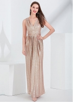 Sparkling Sequin Lace V-neck Neckline A-line Evening Dress