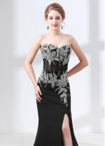 Delicate Chiffon Sweetheart Neckline Mermaid Evening Dress With Slit