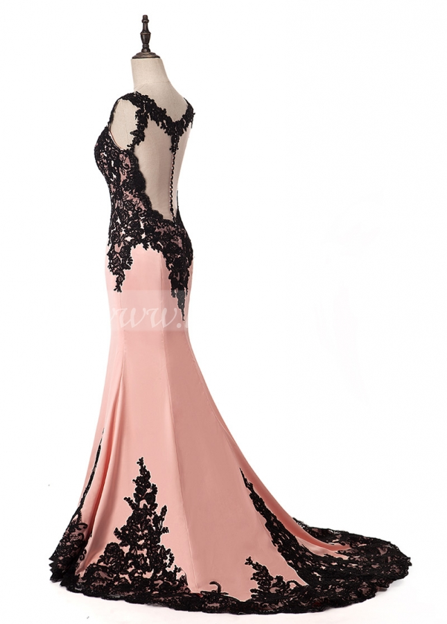 Marvelous Tulle & Acetate Satin Scoop Neckline Mermaid Formal Dress With Embroidery