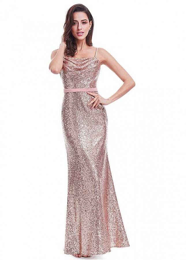 Stunning Sequin Lace Spaghetti Straps Neckline Sheath / Column Evening Dresses With Belt