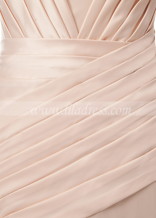 Charming Acetate Satin Off-the-shoulder Neckline Mermaid Evening Dress With Pleats