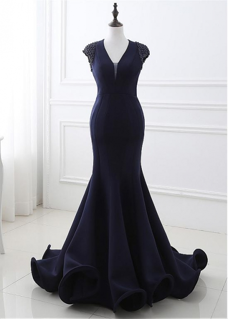 Modern Polyamide V-neck Neckline Cut-out Mermaid Formal Dresses With Beadings