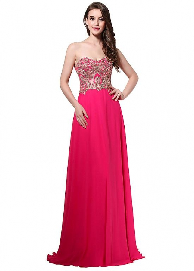 Delicate Chiffon Sweetheart Neckline Natural Waistline A-line Prom Dresses With Hot Fix Rhinestone