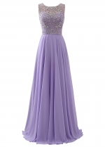 Exquisite Chiffon Scoop Neckline A-Line Prom Dresses With Beadings
