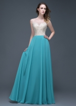 Elegant Chiffon Jewel Neckline Full-length A-line Evening Dresses