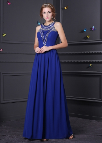 Junoesque Chiffon Jewel Neckline A-Line Formal Dresses