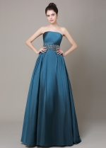 Exquisite Taffeta Strapless Neckline A-Line Formal Dresses