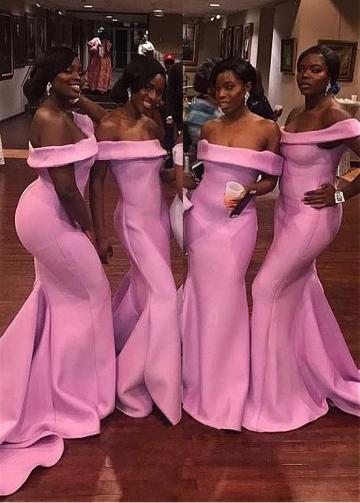 Modest Satin Off-the-shoulder Neckline Mermaid Bridesmaid Dresses
