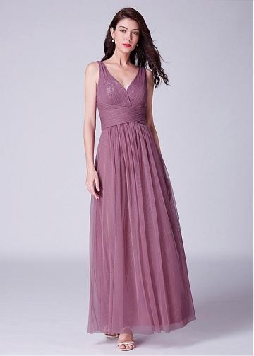 Exquisite Tulle & Sequin Lace V-neck Neckline A-line Bridesmaid Dresses