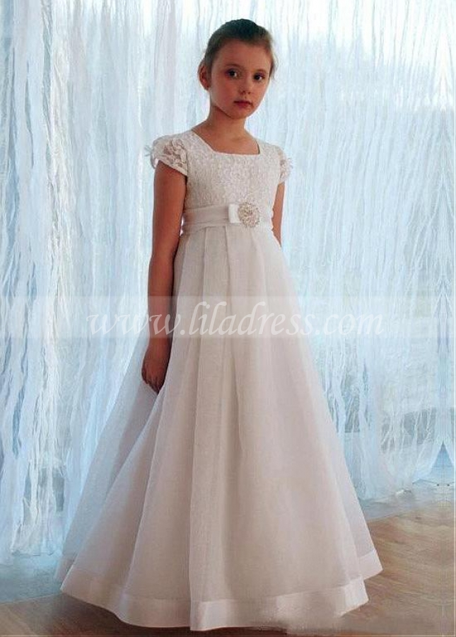 Brilliant Lace Square Neckline A-line Flower Girl Dress With Bowknots & Beadings