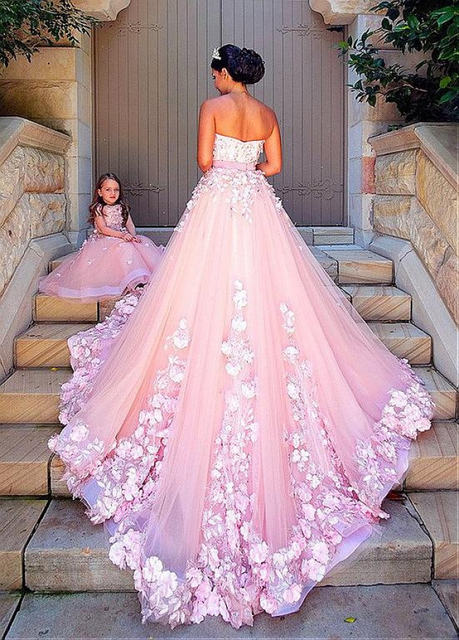 Cute Tulle Bateau Neckline Cap Sleeves Full length A-line Flower Girl Dresses With Lace Appliques & 3D Flowers & Beadings