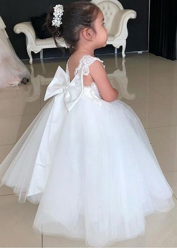 Sweet Tulle Square Neckline Ball Gown Flower Girl Dresses With Lace Appliques & Bowknot