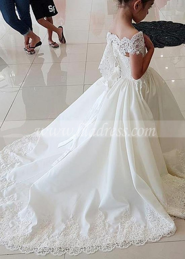 Attractive Tulle & Satin Off-the-shoulder Neckline Ball Gown Flower Girl Dresses With Beaded Lace Appliques
