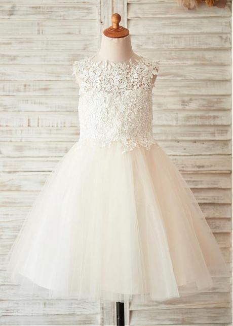 Modern Lace & Tulle & Satin Jewel Neckline A-line Flower Girl Dresses