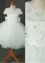 Sweet Lace & Tulle & Satin Jewel Neckline Ball Gown Flower Girl Dress With Beaded Lace Appliques