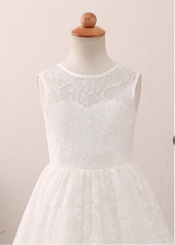 Exquisite Lace Jewel Neckline A-line Flower Girl Dress