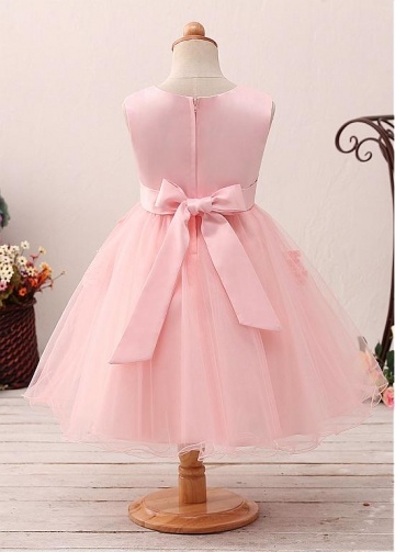 Cute Tulle & Satin Jewel Neckline A-line Flower Girl Dress With Lace Appliques & Beadings & Belt