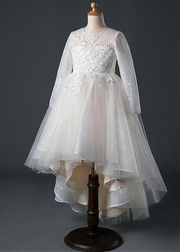 Sweet Tulle Jewel Neckline Hi-lo A-line Flower Girl Dress With Lace Appliques