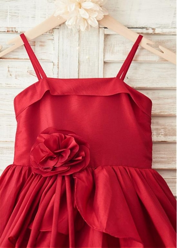 Fantastic Taffeta Spaghetti Straps Neckline Tea-length Flower Girl Dresses With Handmade Flowers
