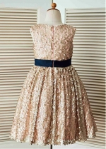 Shining Sequin Lace Jewel Neckline Tea-length A-line Flower Girl Dresses With Bowknot