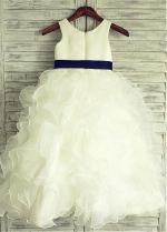 Wonderful Satin Scoop Neckline Ankle-length Ball Gown Flower Girl Dresses With Belt