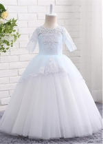 Attractive Tulle Jewel Neckline Short Sleeves Ball Gown Flower Girl Dresses With Lace Appliques