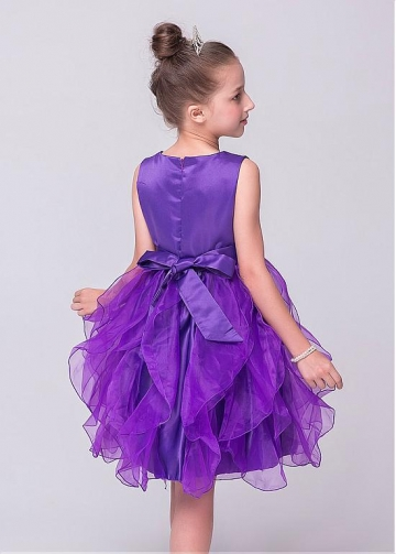Glamorous Satin & Organza Jewel Neckline Ball Gown Flower Girl Dresses With Handmade Flowers