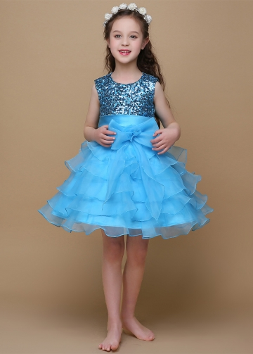 Shining Sequin Lace & Satin Jewel Neckline Ball Gown Flower Girl Dresses With Bows