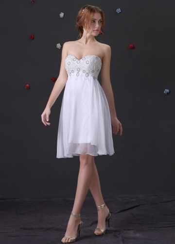 Charming Chiffon & Stretch Satin Sweetheart Neckline A-Line Homecoming Dresses