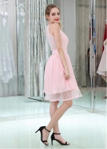 Pink Pretty Chiffon & Lace V-neck Neckline Knee-length A-line Homecoming Dresses With Belt