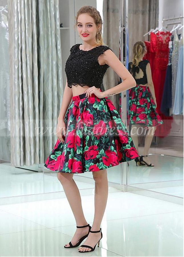 Excellent Scoop Neckline A-line Two-piece Print Homecoming Dresses With Beaded Lace Appliques