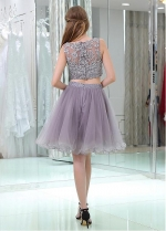 Tulle Bateau Neckline Knee-length A-line Two-piece Homecoming Dresses With Beaded Lace Appliques