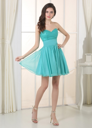 Chic Chiffon Sweetheart Neckline A-Line Homecoming / Short Bridesmaid Dresses